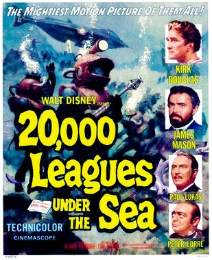 Vingt mille lieues sous les mers, le film de 1954, poster