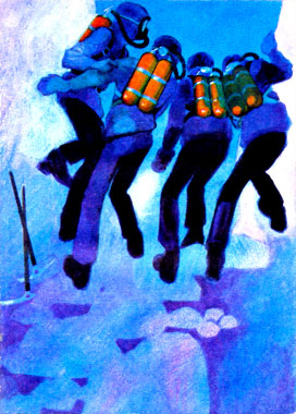 """""""Tous regardaient la nappe liquide, d'un bleu irréel"""", Yvon Le Gall in Celui qui revenait de loin (Hachette, 1973)"""