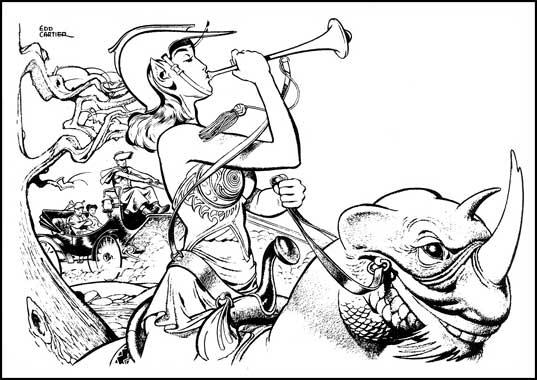 Zei, le roman de 1950 - illustrations de Edd Cartier de la version originale.